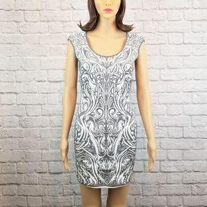 RVN white and silver bodycon scoop neck mini dress